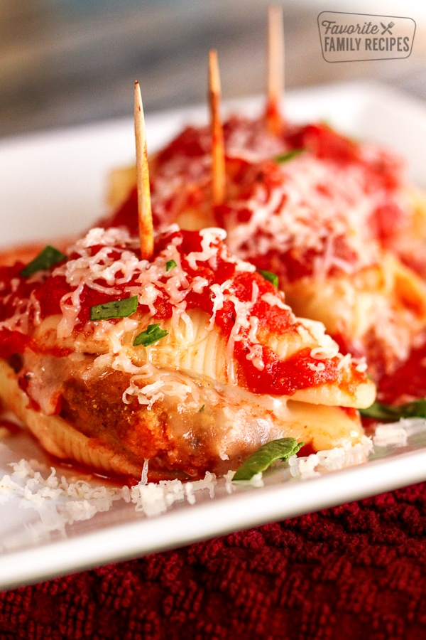 Chicken Parmesan Stuffed Shells on a white tray