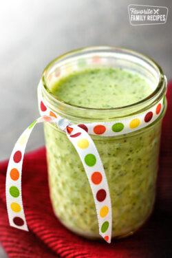 Cilantro Verde Sauce in a small mason jar.