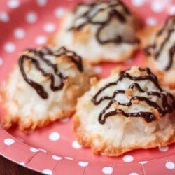 4 Coconut Macaroon Cookies on a pink polka dot Plate
