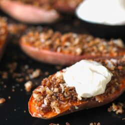 Coconut Pecan Sweet Potato Halves with a Side of Marshmallow Cream