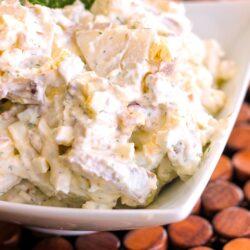 Bacon Gorgonzola Potato Salad in a white bowl.