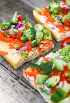 3 Easy Low Fat Veggie Squares on a gray surface.