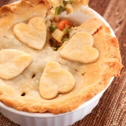 Easy Turkey Pot Pie with a fork scooping out some.