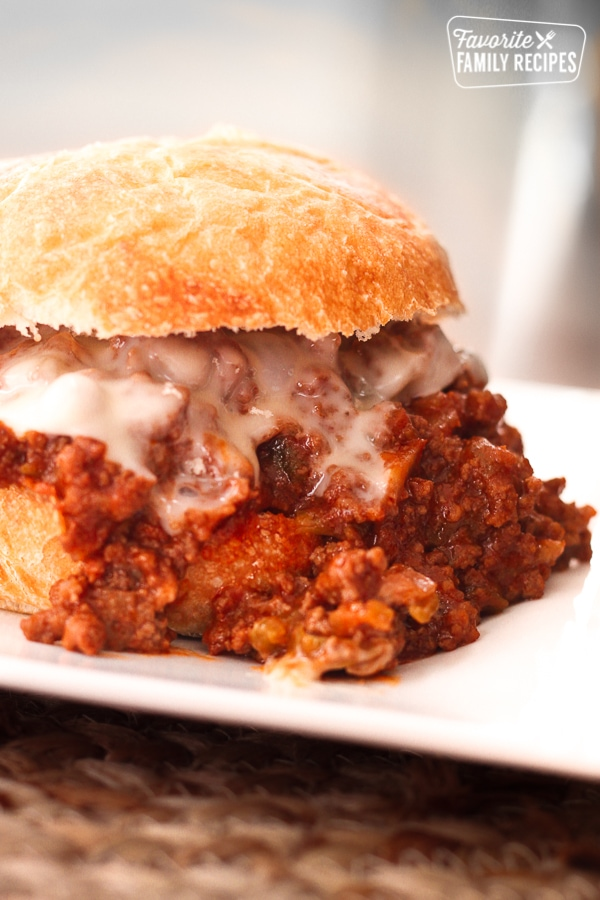 Homemade Sloppy Joes on a white plate.