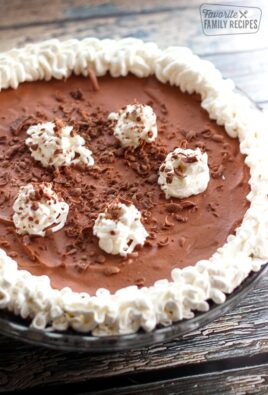 Marie Callender's Chocolate Satin Pie in a glass dish