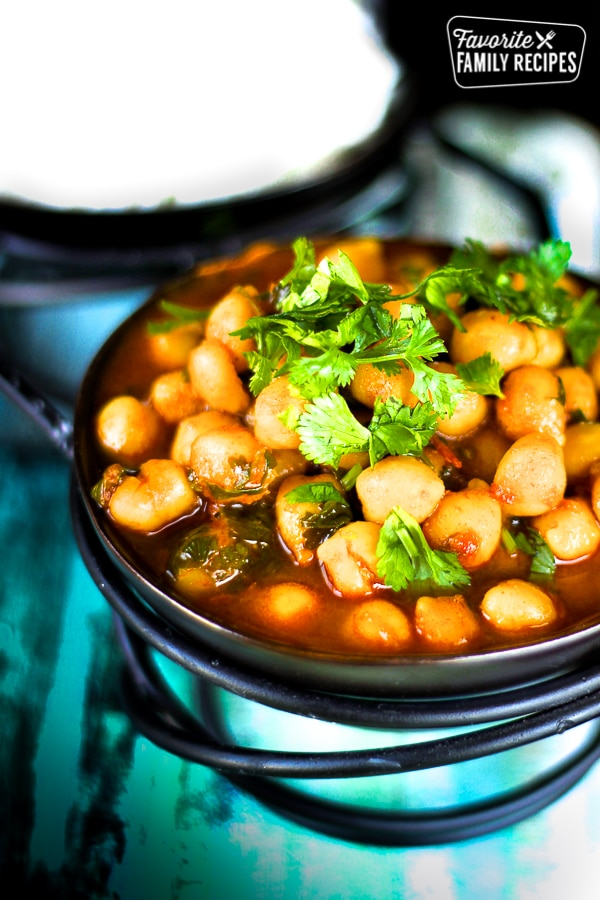Curried Garbanzo Beans in a Dish
