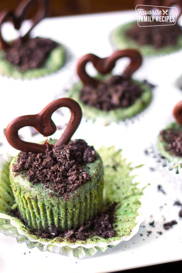 Mini Grasshopper Cheesecakes topped with chocolate hearts.