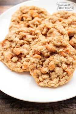 Oatmeal Butterscotch Cookies on a white plate.