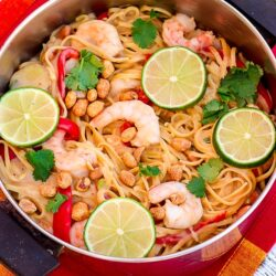 One Pot Thai Peanut Pasta with Shrimp and Lime Slices