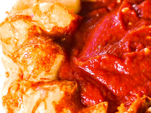 Parmesan Pull Apart Bread with marinara sauce in the middle.