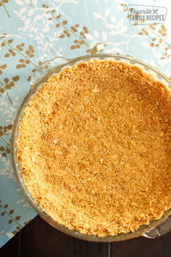 Graham Cracker Crust in a glass pie dish