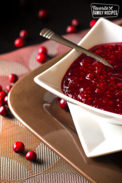 Raspberry Cranberry Sauce in a serving dish