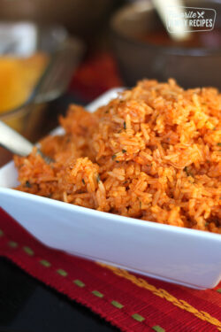 Authentic Restaurant Mexican Rice served with salsa and chips