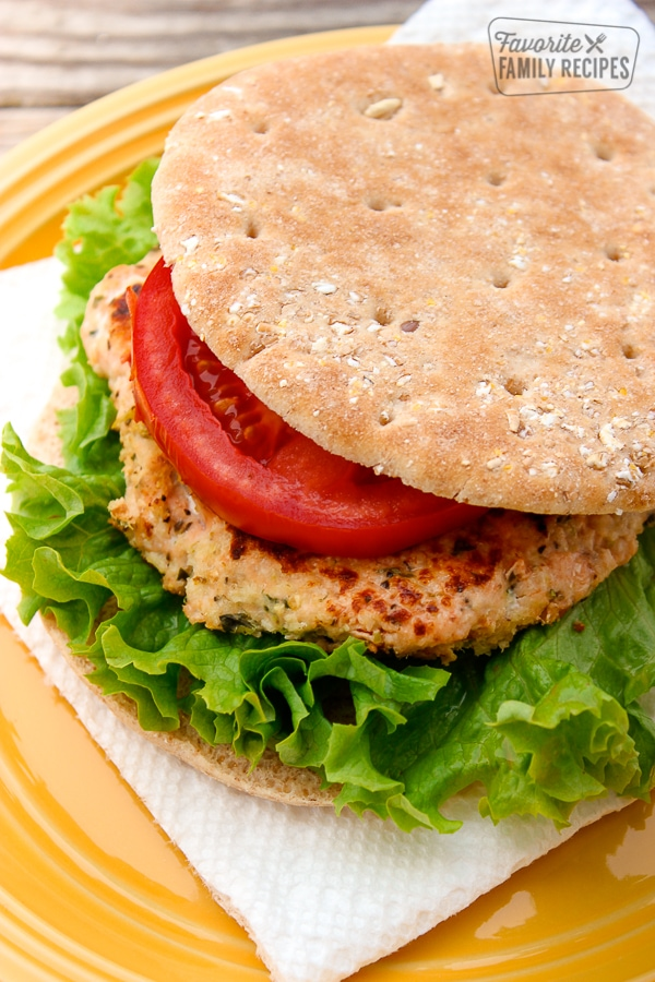 Salmon Burger on a Plate
