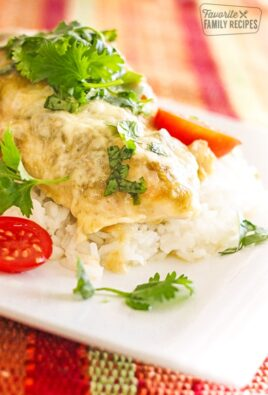 Salsa Verde Chicken over rice served on a plate topped with cilantro and chopped tomatoes