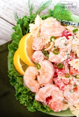Shrimp Pasta Salad on a Plate