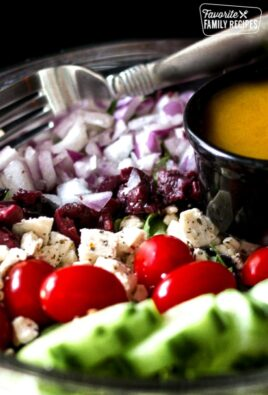 Greek Side Salad with Greek Dressing in a Bowl