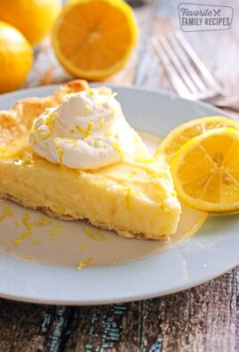 Slice of Sour Cream Lemon Pie on a plate