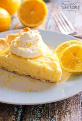 Slice of Sour Cream Lemon Pie on a plate