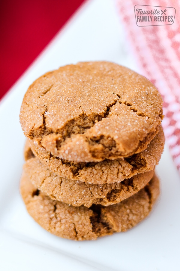 Three Spiced Molasses Cookies on a plate