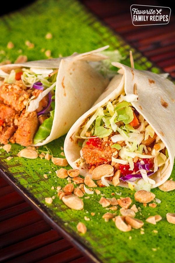 Spicy Chicken Peanut Wraps