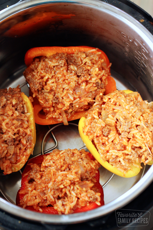 Stuffed peppers in an Instant Pot ready to be cooked