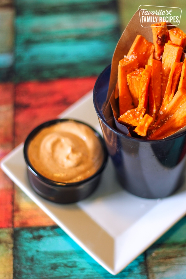 Sweet Potato Fries on a Plate with Chipotle Lime Dip on the Side