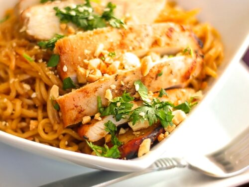 Sweet and Spicy Noodles with Chicken in a Bowl