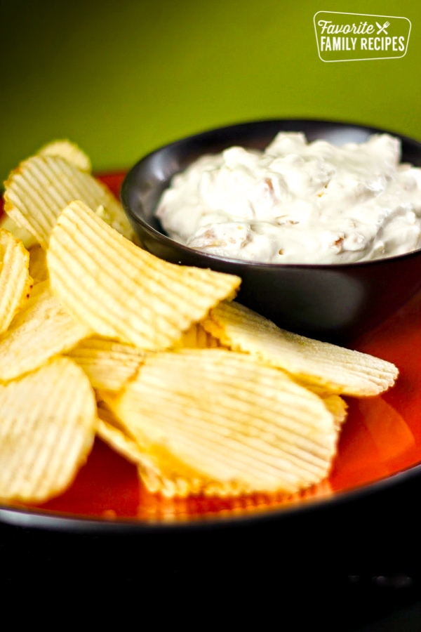 Clam Dip in a Bowl with a side of Potato Chips