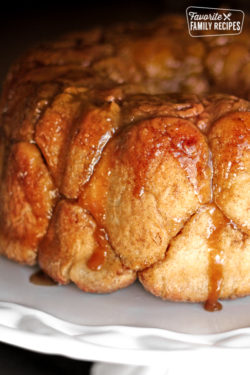 Caramel Monkey Bread on a tray.