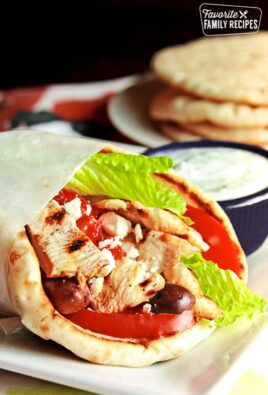 Chicken Gyro with Tzatziki Sauce on the side.