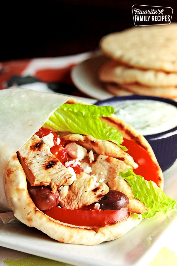 Chicken Gyros with Tzatziki Sauce on the side.
