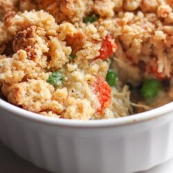 Chicken Pot Pie Crumble in a white bowl
