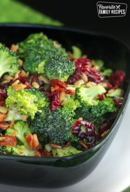 Chopped Broccoli Salad in a black bowl