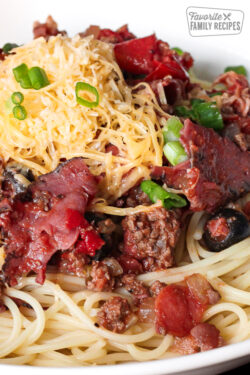 Cowboy Spaghetti in a large bowl