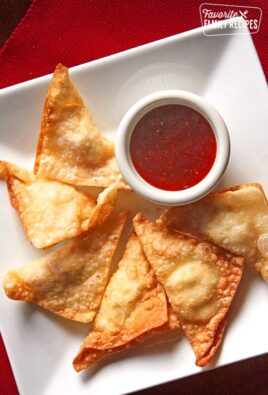 Crab and Cream Cheese Wontons on a Plate