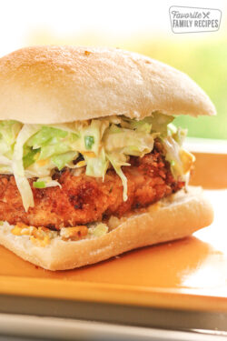 Close up of Donnie Mac's Southern Fried Chicken Sandwich.
