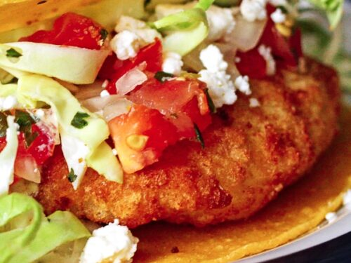 Close up of Easy Fish Tacos on a plate.