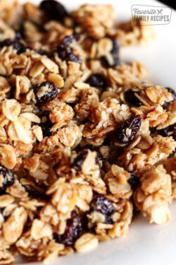 Close up of Homemade Vanilla Granola on a white plate.