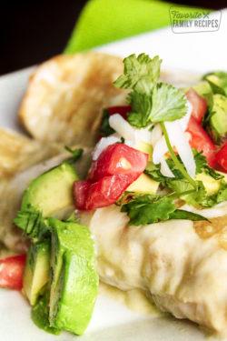 close up of honey lime chicken enchiladas