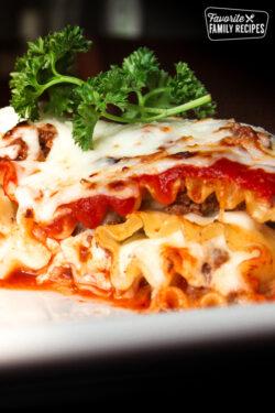 Lasagna Roll Ups on a plate