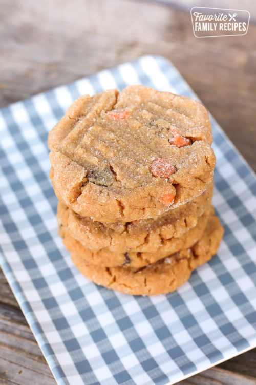 close up of stack of peanut butter cookies