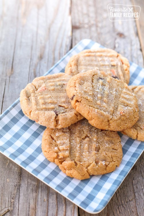 plate of peanut butter cookies on plaid plate