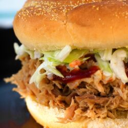 Close up of a Kalua Pork Pulled Pork Sandwich