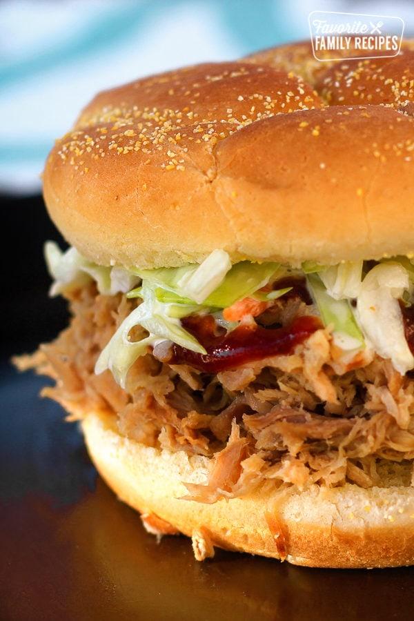 Close up of a Kalua Pork Pulled Pork Sandwich