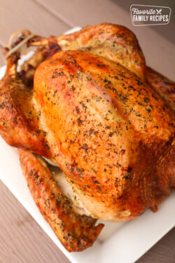 A roasted turkey with herbs and spices on a white platter