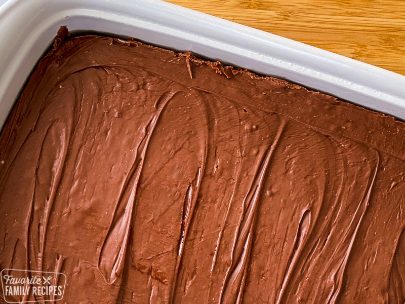 See's fudge recipe in a pan ready to be cut