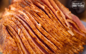 Close up look at slices of a cooked ham