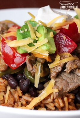 Steak Fajita Bowls Close Up