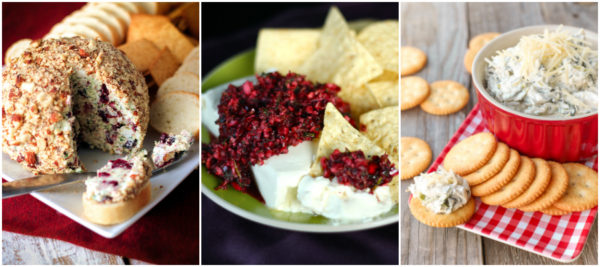 A collage of Thanksgiving Appetizers including cranberry salsa, a cranberry cheese ball, and spinach dip